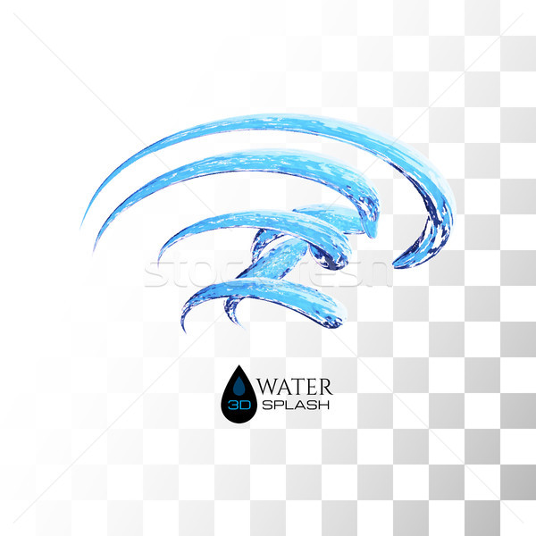 Blue 3D water splash isolated on white Stock photo © sidmay