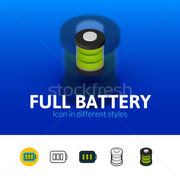 Plein batterie icône différent style couleur Photo stock © sidmay