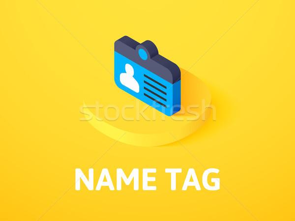Névtábla izometrikus ikon izolált szín vektor Stock fotó © sidmay