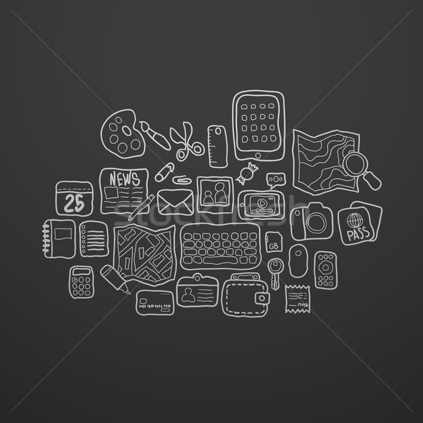 Black and white doodle sketch icons set Stock photo © sidmay