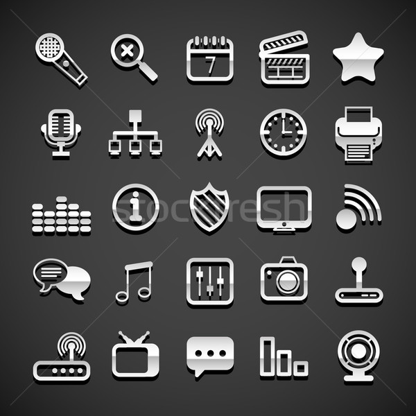 Metallic universal Symbole Internet Uhr Stock foto © sidmay