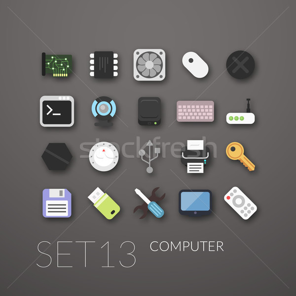 Flat icons set 13 Stock photo © sidmay
