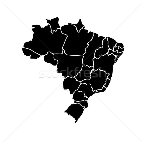 Flat simple Brazil map Stock photo © sidmay