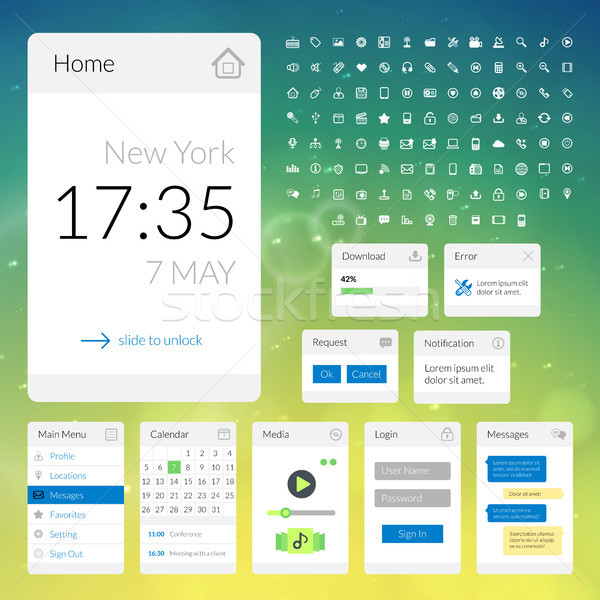 Mobile flat interface elements with colorful wallpaper and icon set, design for applications Stock photo © sidmay