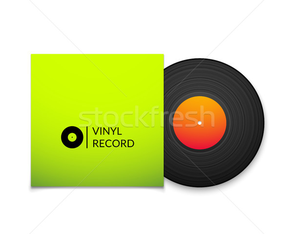 Black vintage vinyl record with blank green cover case isolated on white background Stock photo © sidmay