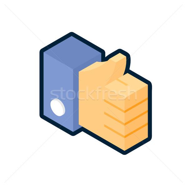 Azul polegar para cima ícone como símbolo Foto stock © sidmay