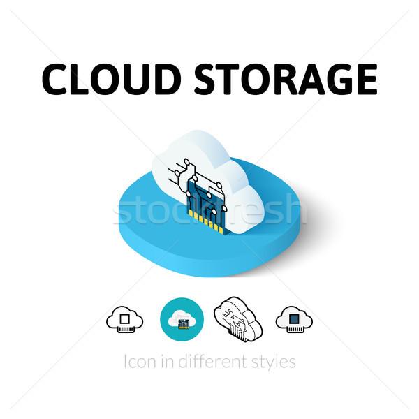 Nube stoccaggio icona diverso stile vettore Foto d'archivio © sidmay