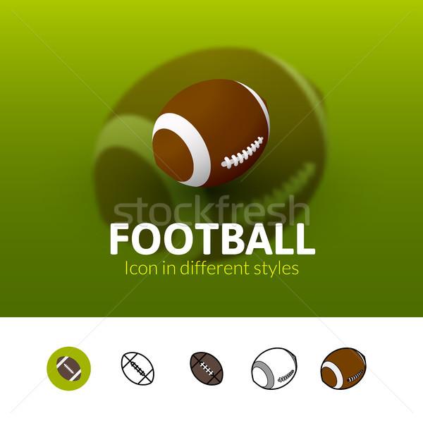 Сток-фото: футбола · икона · различный · стиль · цвета · вектора