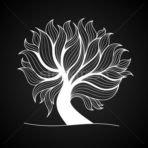 Doodle tree, black and white color Stock photo © sidmay