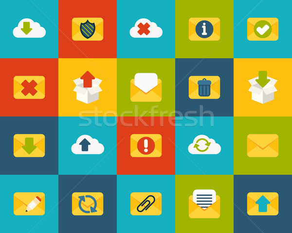 Ikon szett posta felhő gyűjtemény papír terv Stock fotó © sidmay