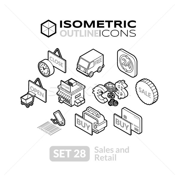 Isometric outline icons set 28 Stock photo © sidmay