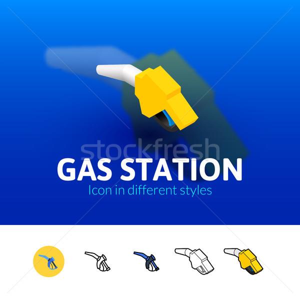Tankstation icon verschillend stijl kleur vector Stockfoto © sidmay
