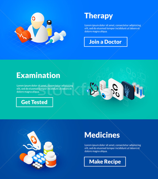 Therapy examination and medicines banners of isometric color design Stock photo © sidmay