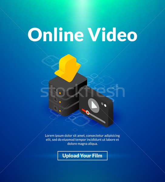 Stock photo: Online video poster of isometric color design
