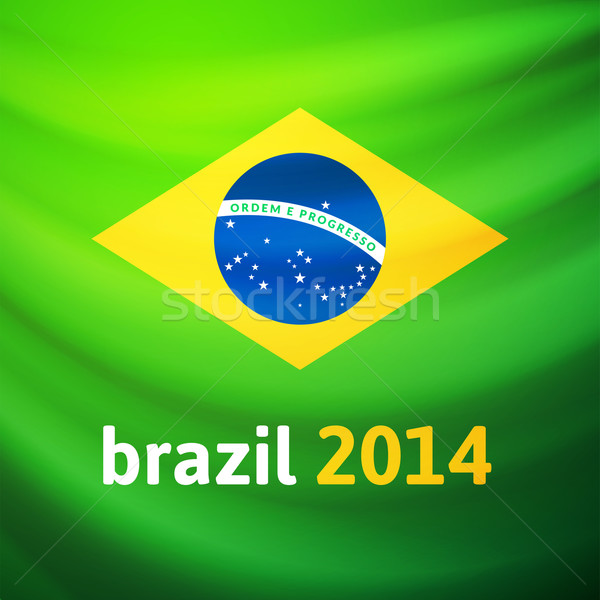 Waving fabric flag of Brazil Stock photo © sidmay