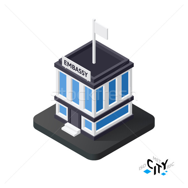 Isometric embassy icon, building city infographic element, vector illustration Stock photo © sidmay