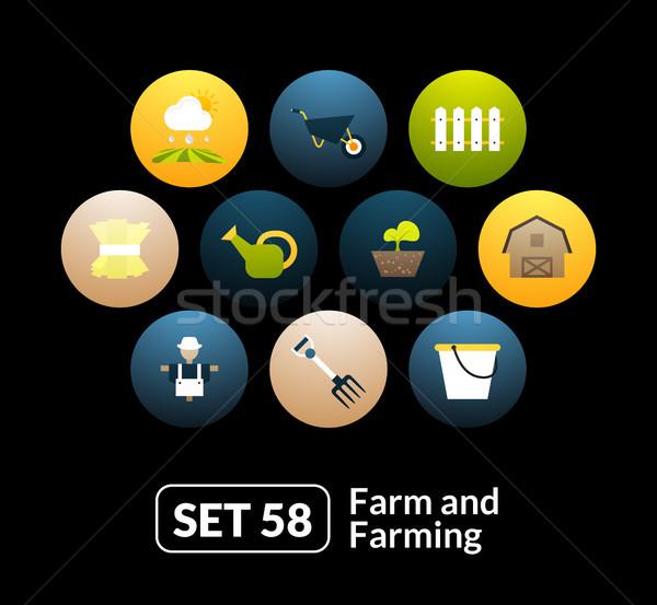 Stock fotó: Ikon · szett · farm · gazdálkodás · telefon · óra · tabletta