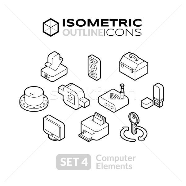 Сток-фото: изометрический · иконки · 3D · пиктограммы