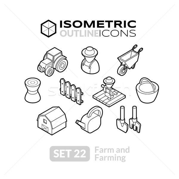 Izometryczny 22 ikona 3D Zdjęcia stock © sidmay
