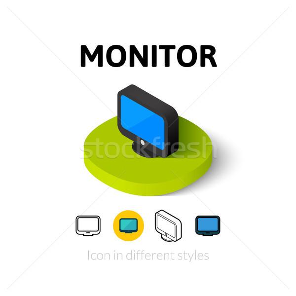 Monitor ícone diferente estilo vetor símbolo Foto stock © sidmay