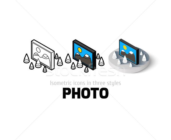 Foto d'archivio: Foto · icona · diverso · stile · vettore · simbolo