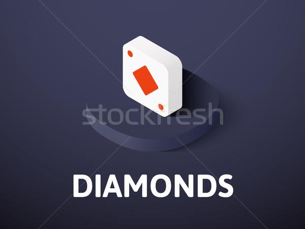 Photo stock: Diamants · isométrique · icône · isolé · couleur · vecteur