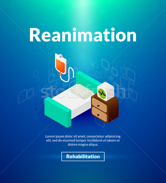 Reanimation poster of isometric color design Stock photo © sidmay