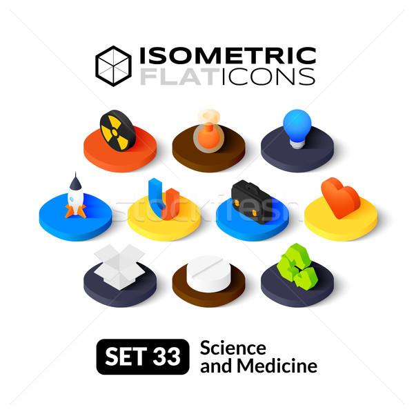 Isometric flat icons set 33 Stock photo © sidmay