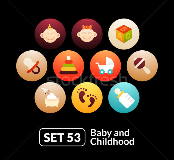 Flat icons set 53 - baby and childhood Stock photo © sidmay