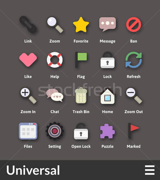 Flat material design icons set Stock photo © sidmay
