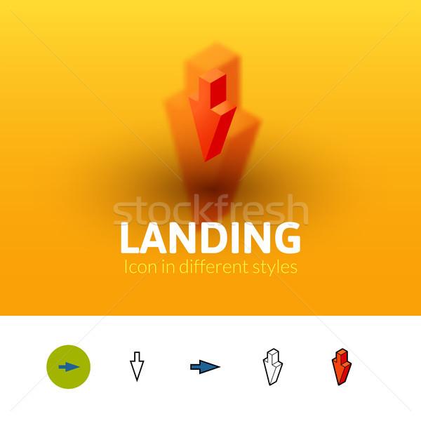 Aterrizaje icono diferente estilo color vector Foto stock © sidmay