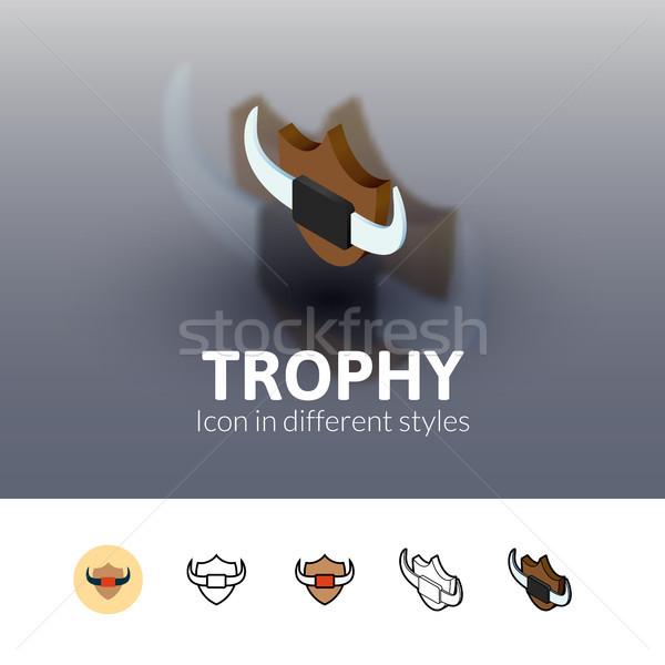 Foto stock: Troféu · ícone · diferente · estilo · cor · vetor