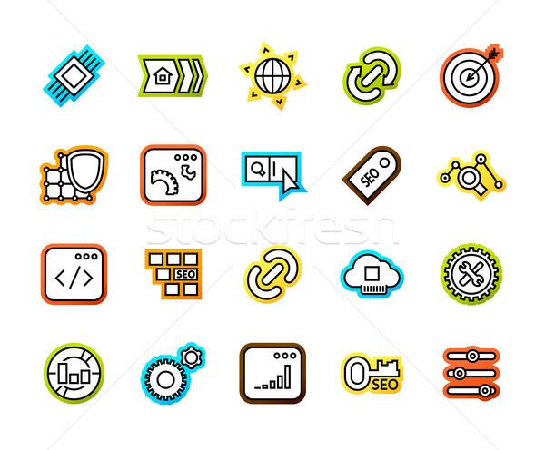 Stockfoto: Schets · iconen · dun · ontwerp · moderne · lijn