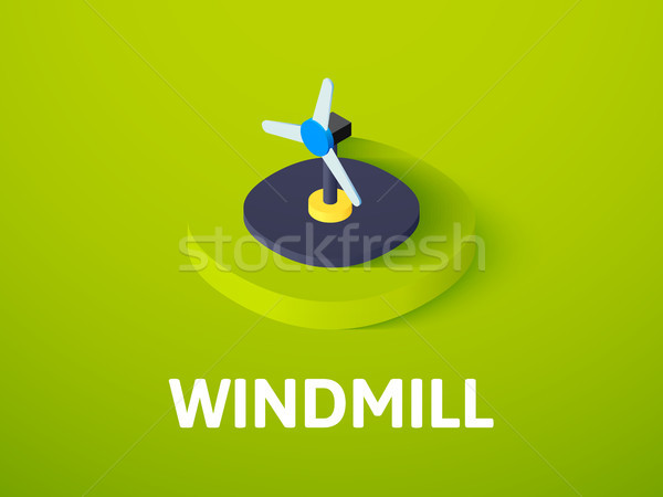 Windmill isometric icon, isolated on color background Stock photo © sidmay