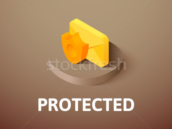 Protected isometric icon, isolated on color background Stock photo © sidmay