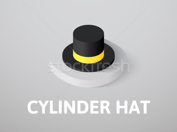Stock photo: Cylinder hat isometric icon, isolated on color background