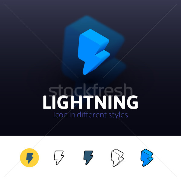 Lightning icon in different style Stock photo © sidmay