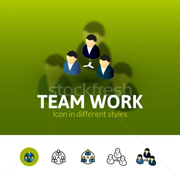 Trabajo en equipo icono diferente estilo color vector Foto stock © sidmay