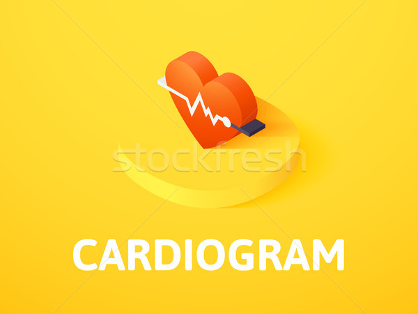 Cardiogram isometric icon, isolated on color background Stock photo © sidmay