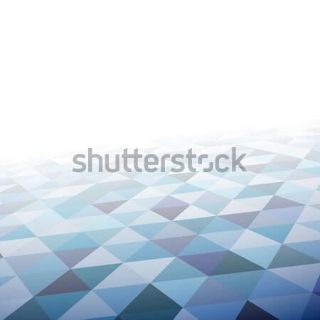 Stock fotó: Mértani · mozaik · minta · nézőpont · kék · háromszög