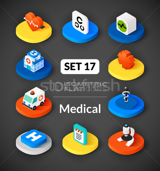 17 iconos 3D pictogramas Foto stock © sidmay