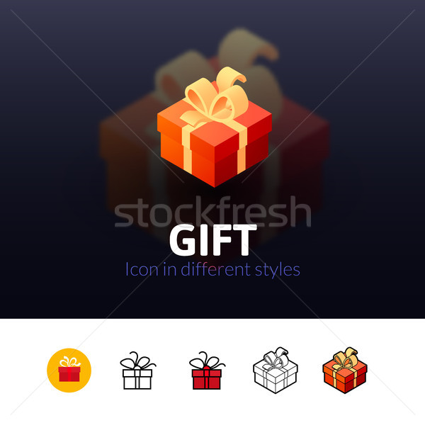 Geschenk icon verschillend stijl kleur vector Stockfoto © sidmay
