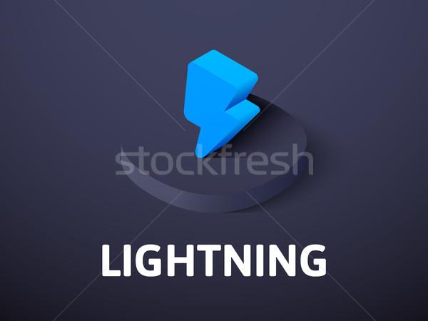 Stockfoto: Bliksem · isometrische · icon · geïsoleerd · kleur · vector