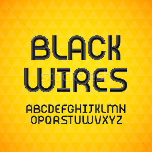 Wired wavy cable, black contour alphabet Stock photo © sidmay