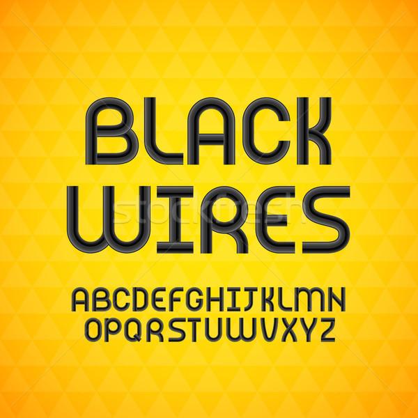 Ondulés câble noir contour alphabet isolé Photo stock © sidmay