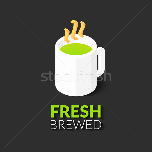 горячий напиток белый Кубок икона аннотация знак Сток-фото © sidmay