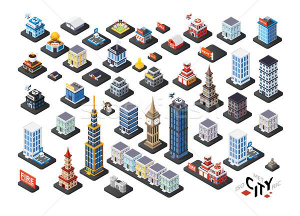 Izometrice proiectare 3D clădirilor rezidential birou Imagine de stoc © sidmay
