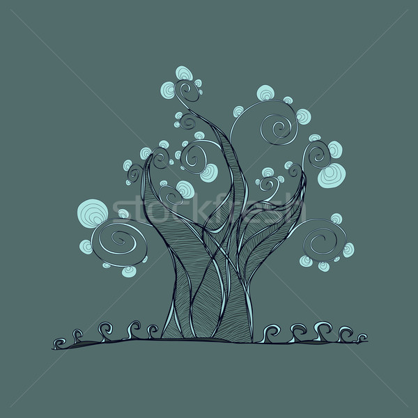 tree with branches and leaves, grass Stock photo © sidmay