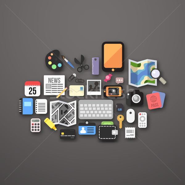 Flat icons set Stock photo © sidmay