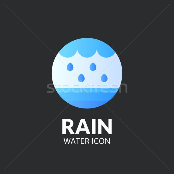Foto stock: Chuva · logotipo · modelo · vetor · projeto · água